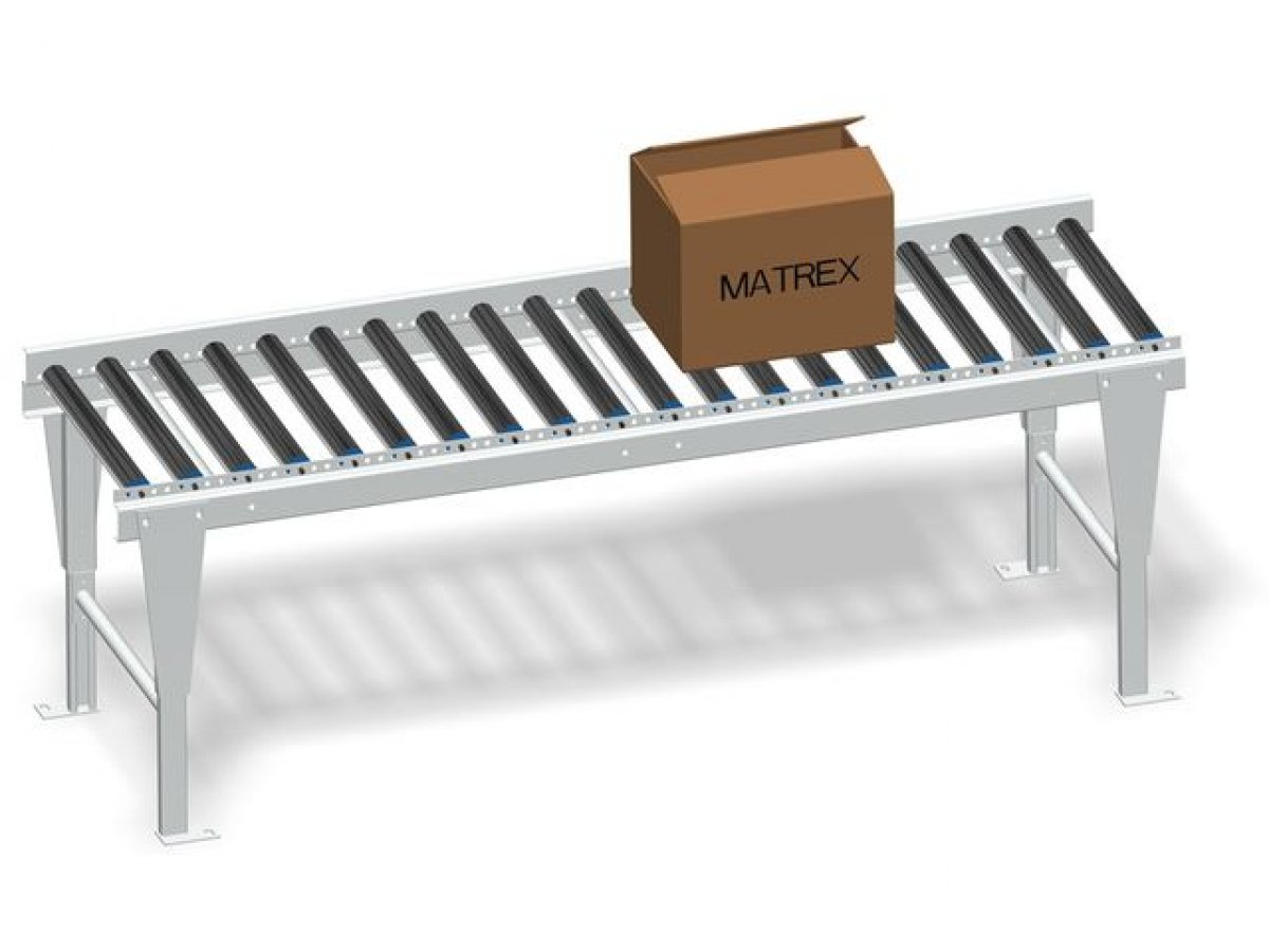 Free roller conveyor for boxes, parcels and pallets