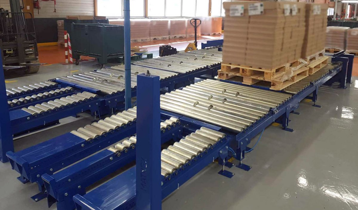 Gravity roller conveyor for pallets