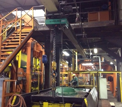 The Loiselet foundry is equipped with electric hoists Verlinde